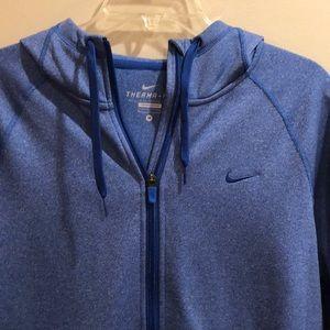 Nike Therma-Fit full zip thumb hole blue hoodie M